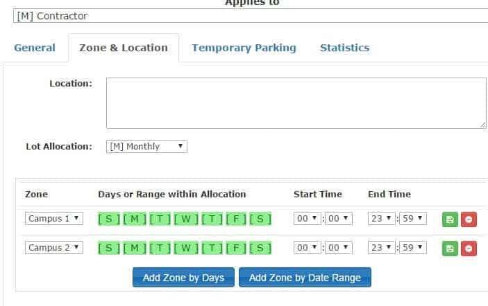 zone allocations admin