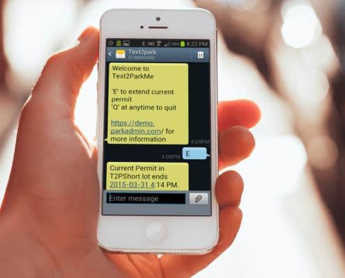 text2parkme screen