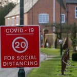 social distance speed sign due to covid