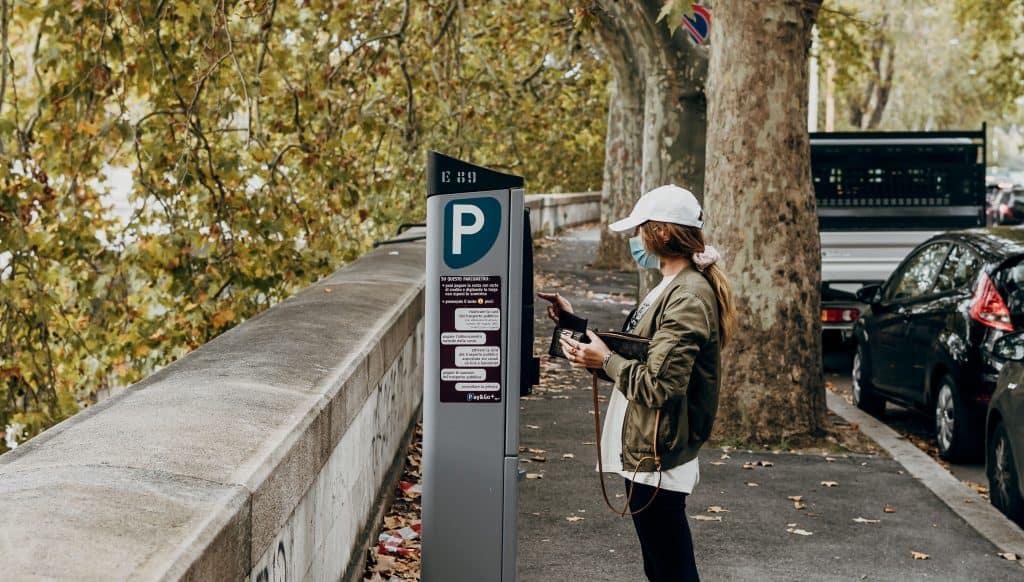 woman parking terminal payment